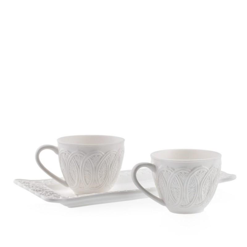 Candida Celiento - Emò Italia, tazzine in porcellana bisquit bianca