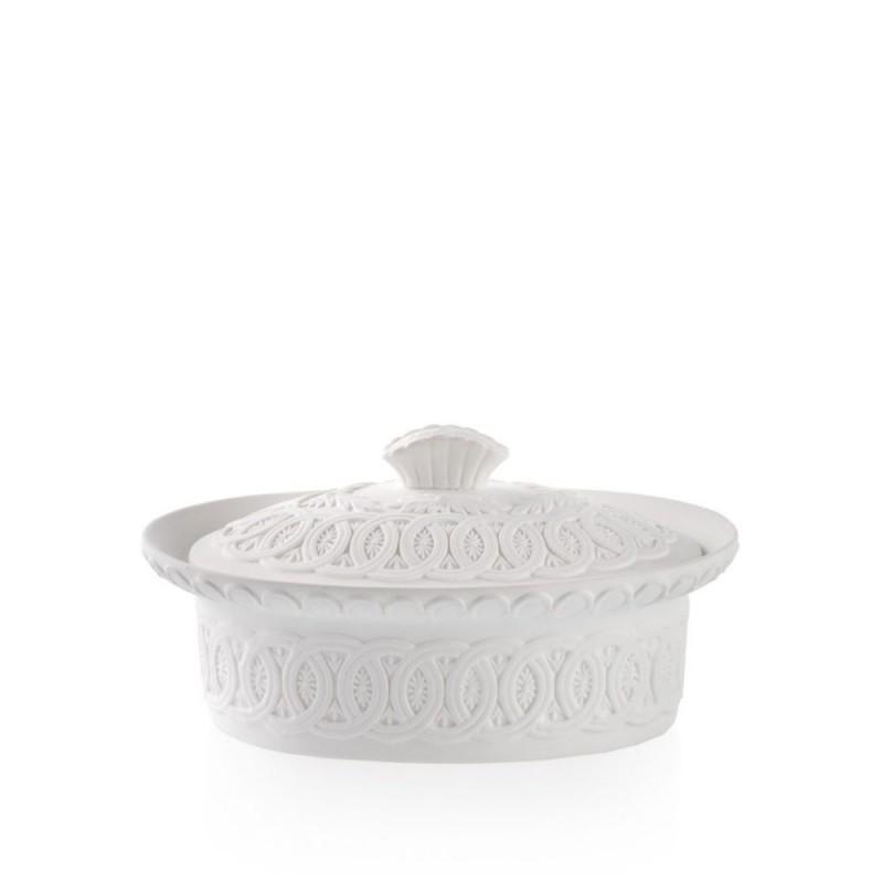 Candida Celiento - Emò Italia, scatola ovale grande in porcellana bisquit bianca
