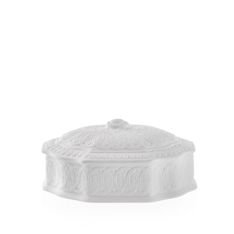 Candida Celiento - Emò Italia, scatola ottagonale grande in porcellana bisquit bianca