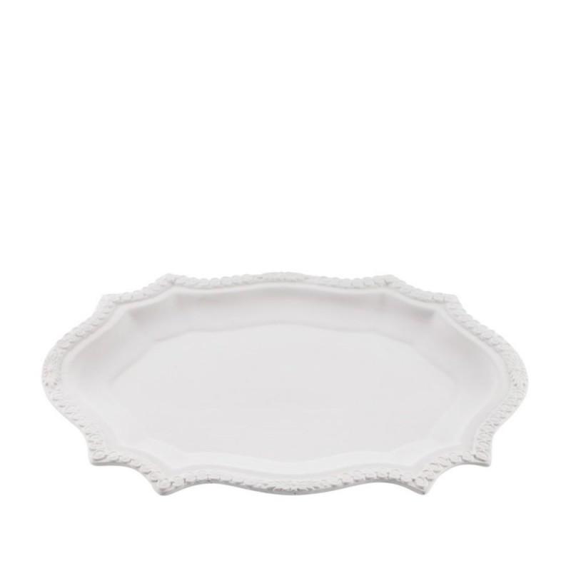 Candida Celiento - Emò Italia, piatto smerlato grande in porcellana bisquit bianca