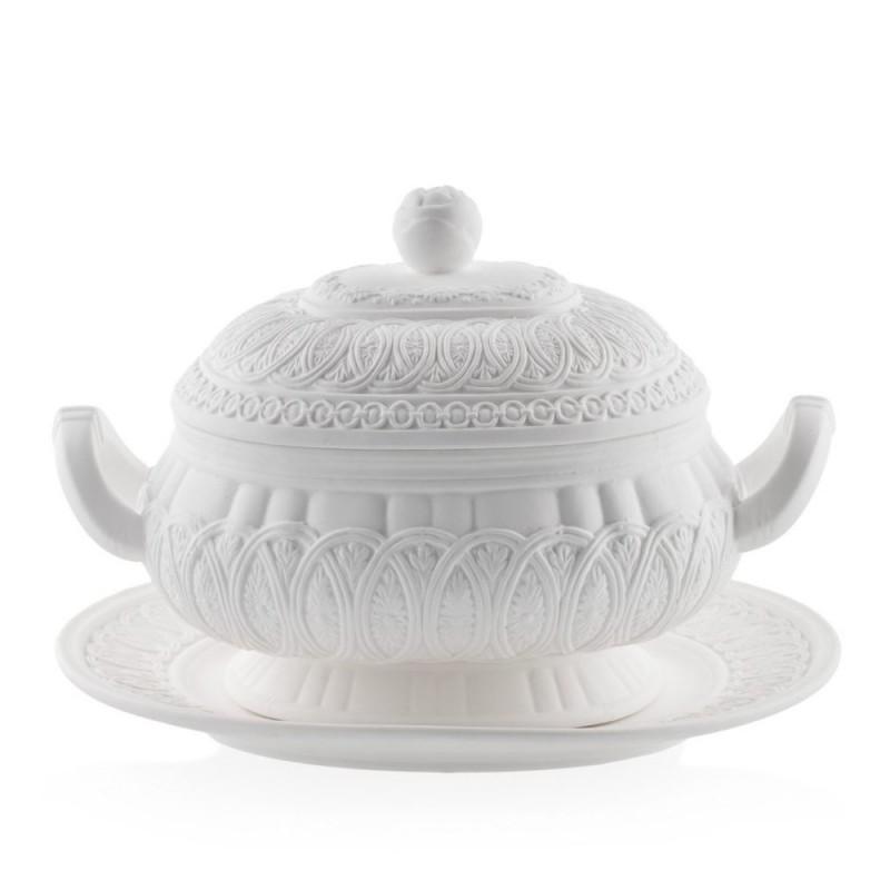 Candida Celiento - Emò Italia, zuppiera con piatto in porcellana bisquit bianca