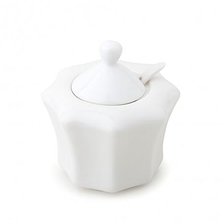 Candida Celiento - Hervit Creations, zuccheriera in porcellana bianca. Diametro 11x11cm