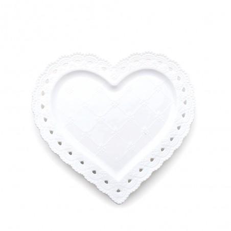 Candida Celiento - Hervit Creations, piatto cuore in porcellana traforata 20cm