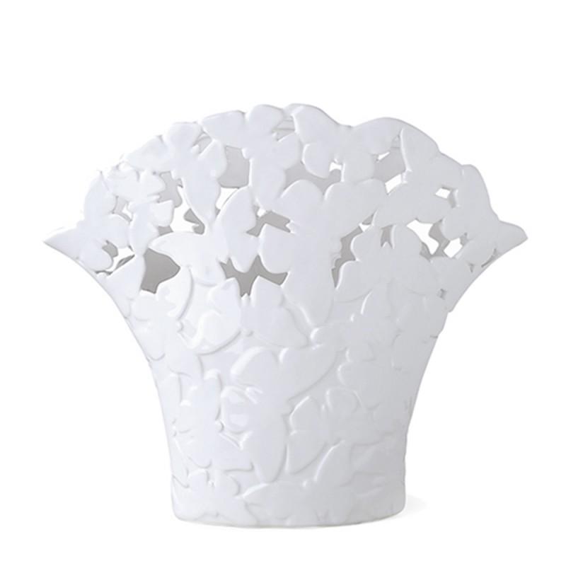 Candida Celiento - Hervit Creations, vaso farfalle in porcellana traforata 41x33cm