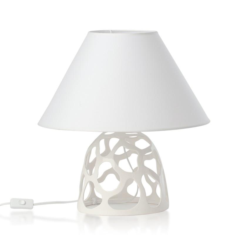 Candida Celiento - Hervit Creations, lampada in porcellana bianca traforata 47cm