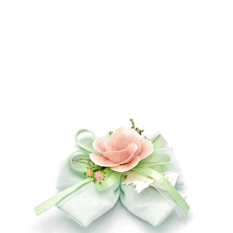 Fiori di Lena - Fiocco verde fiore rosa