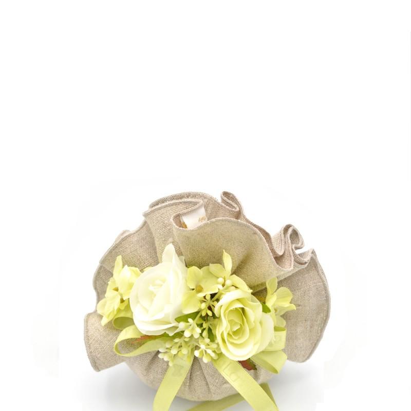 Fiori di Lena - Sacchetto profumato Wonderful marrone fiori verde bianco