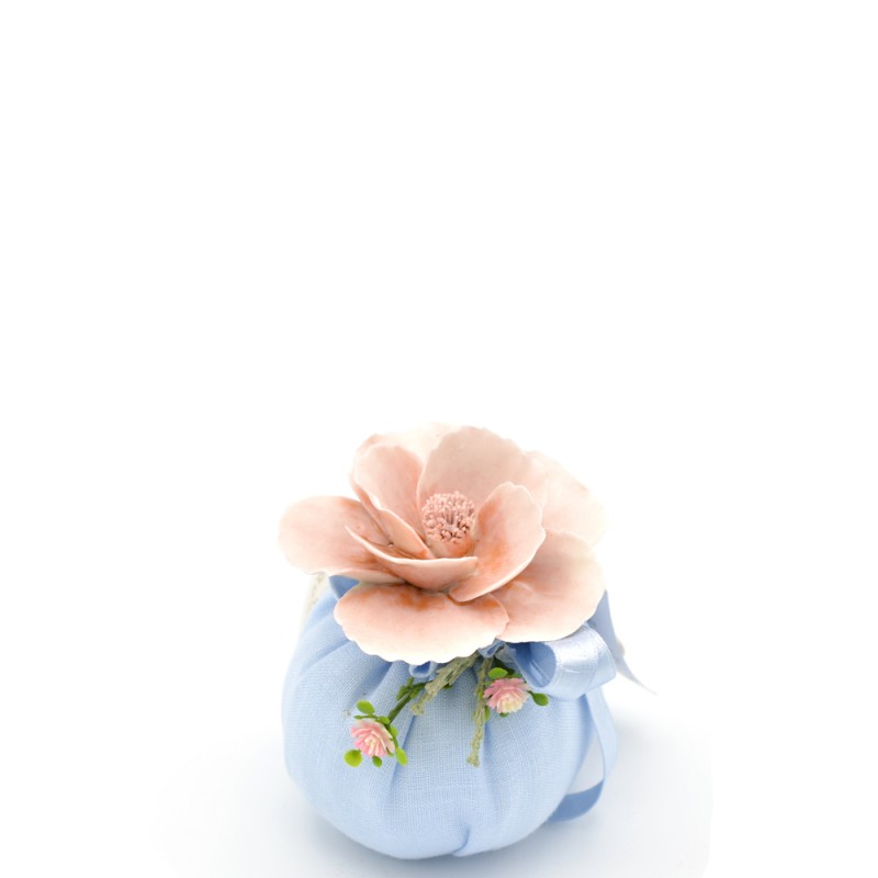 Fiori di Lena - Sacchetto profumato Country Rose azzurro piccolo