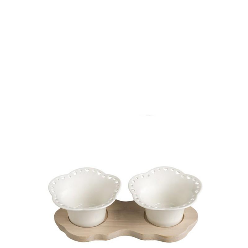 Brandani - Portassaggi traforato 2 fiori Porcellana & Bamboo