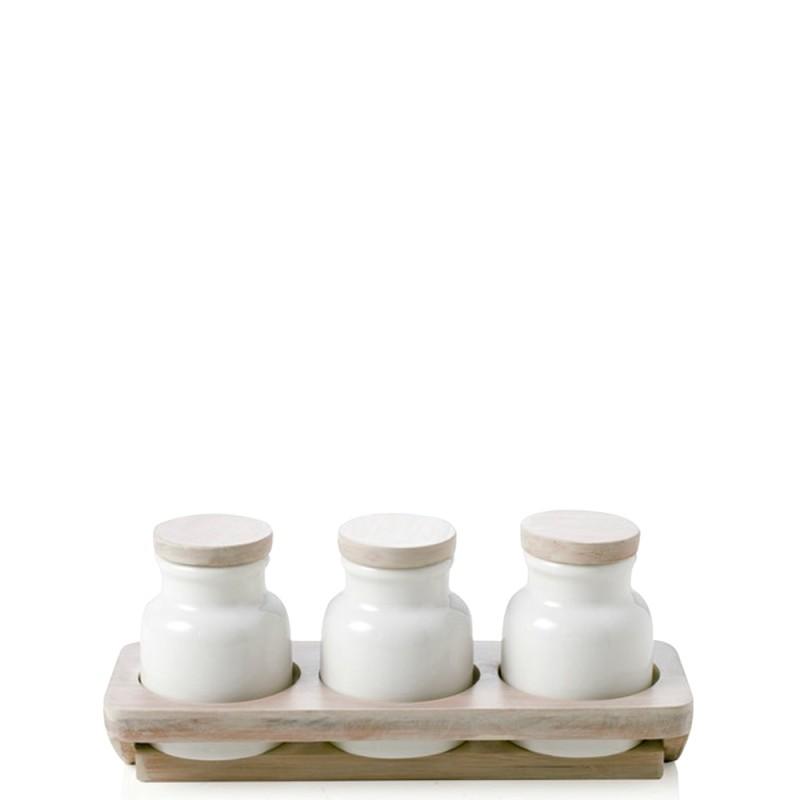 Candida Celiento - Brandani, set portaspezie ermetico 3 pezzi Porcellana & Bamboo