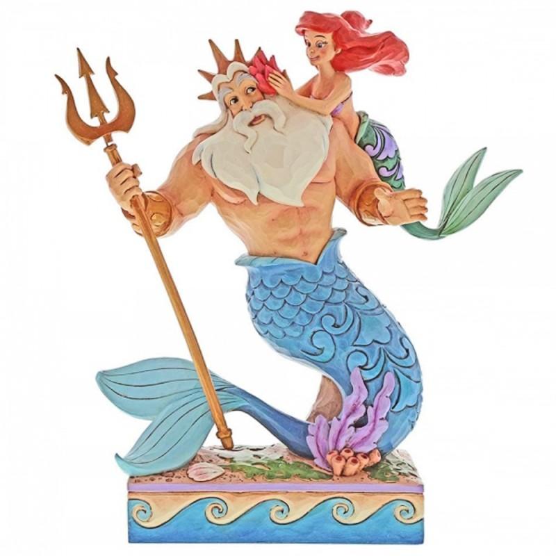 Disney - Statuina Ariel con Re Tritone Disney Traditions