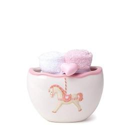 Hervit set ciotola ceramica rosa con 2 asciugamani - 26480