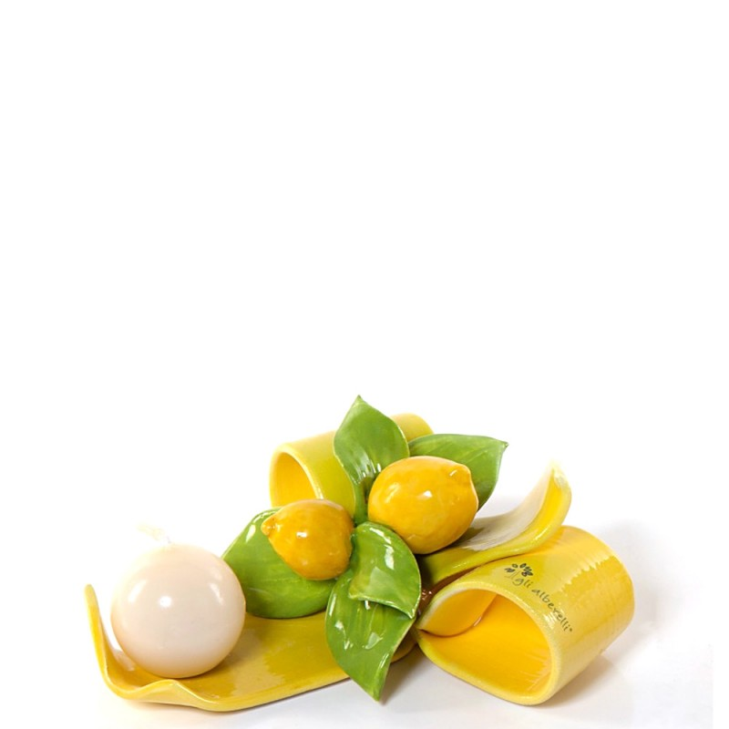 Gli Alberelli fiocco portacandela con limoni - 0111L