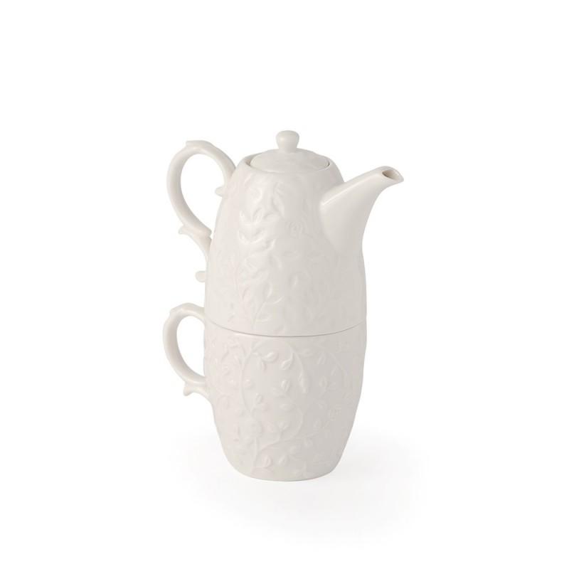 Hervit set tazza + teiera porcellana bianca cod. 27303