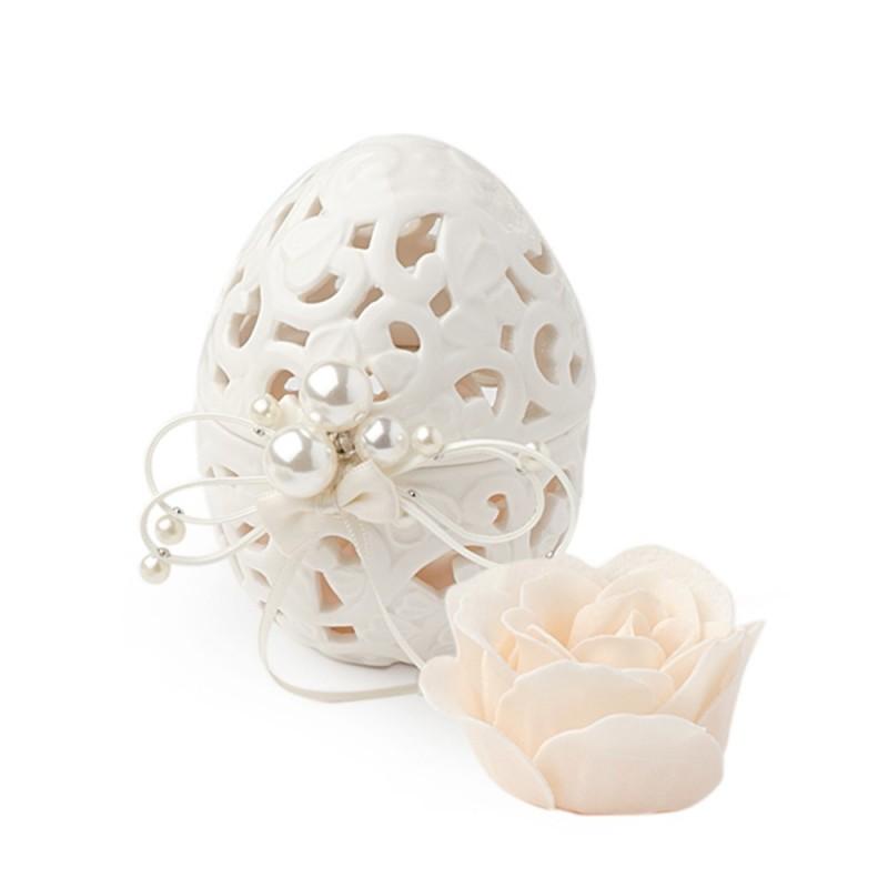 Hervit contenitore uovo porcellana traforata cod. 27436