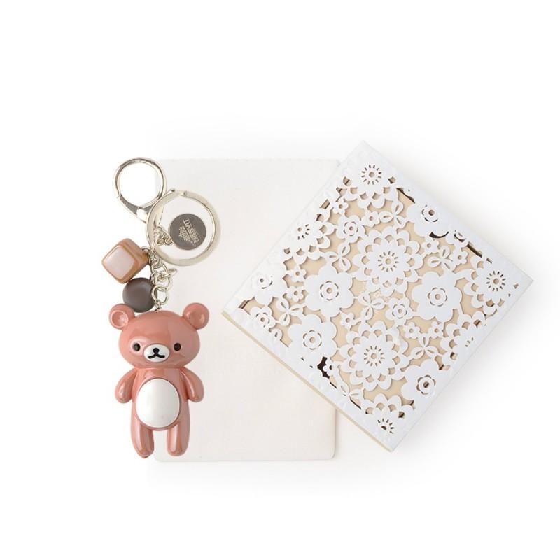 Hervit box con portachiavi a forma di orsetto marrone 12cm - 27271