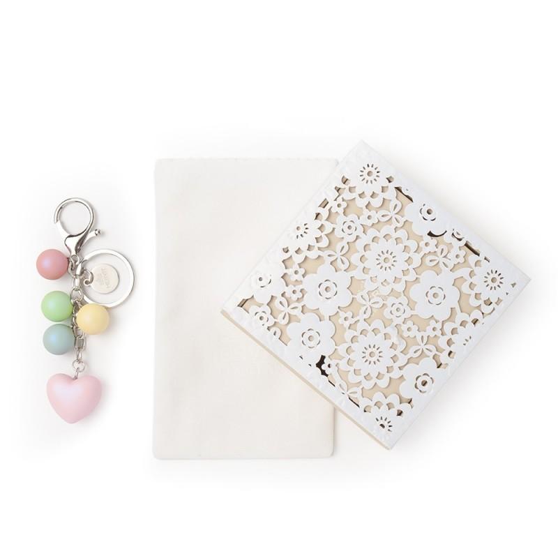 hervit box con portachiavi a forma di cuore bombato rosa 12 cm - 27278