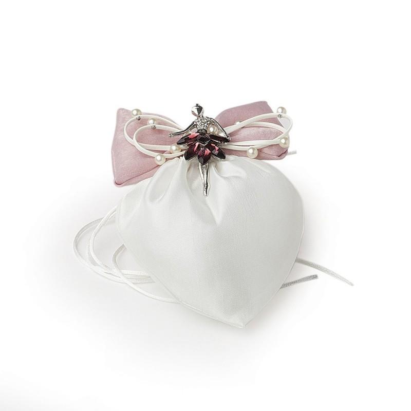 hervit sacchetto cuore avorio 14 17 cm fiocco - 27495