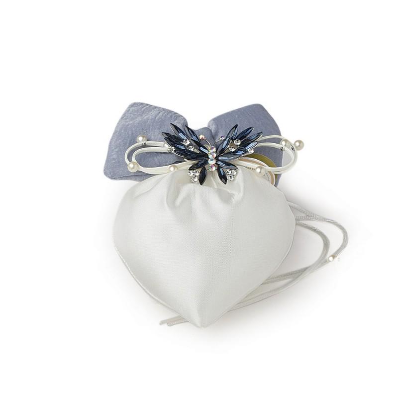 hervit sacchetto cuore avorio 14x17 cm fiocco - 27496