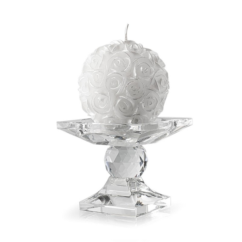 Hervit set portacandela cristallo con candela 8,5cm 23262