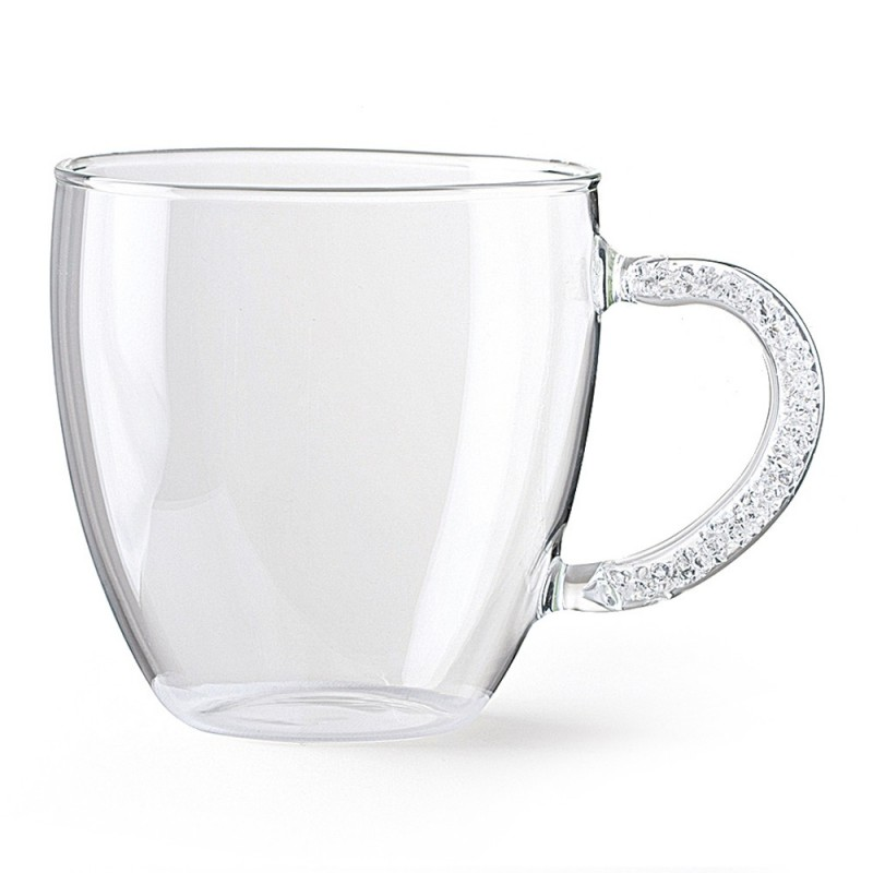 hervit set 2 mug vetro trasparente con manico 8 cm  25702