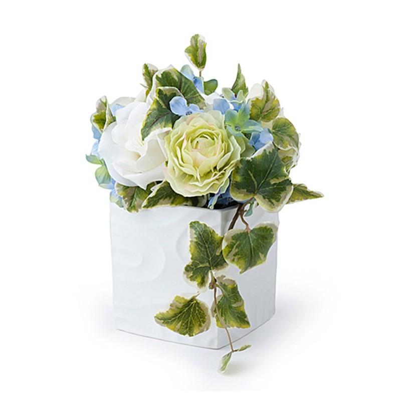 hervit decorazione floreale avorio verde blu 19 cm 27000