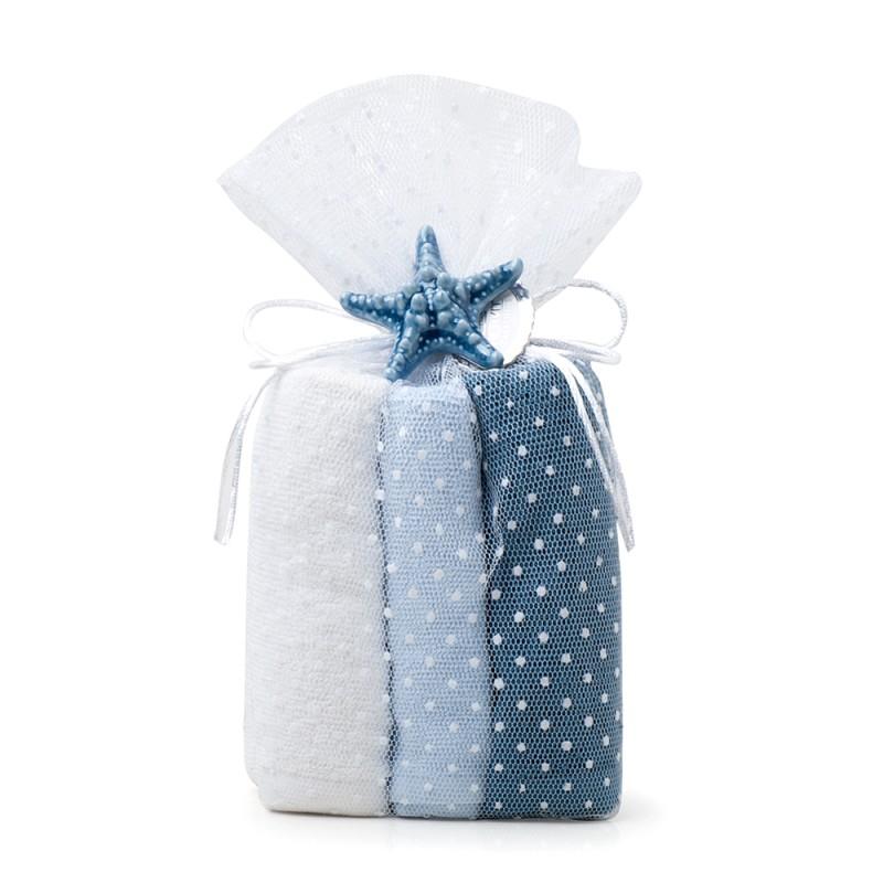 Candida Celiento - Hervit Creations, set 6 asciugamani ospite 30x30cm blu