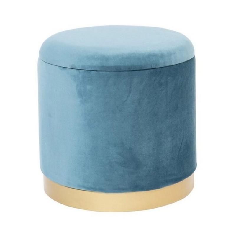 Novità home - pouf contenitore velluto azzurro