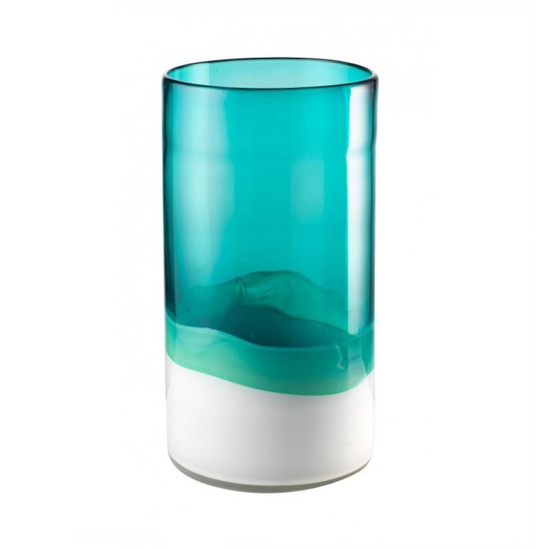 L'Oca Nera - Vaso alto bianco acquamarina in vetro soffiato