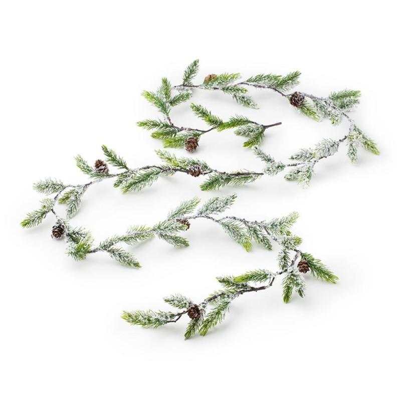 Hervit - festone sintetico mini verde nevicato 190 cm