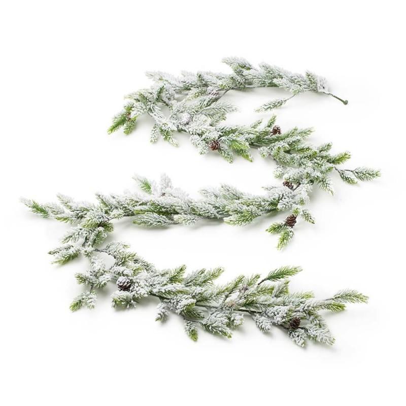 Hervit - festone sintetico verde nevicato 190 cm