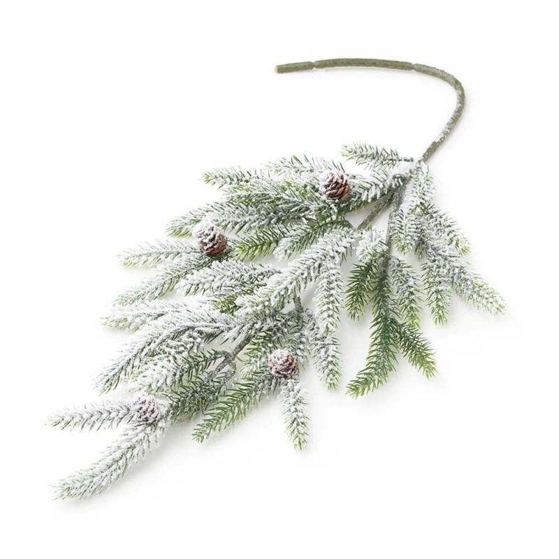 Hervit - Ramo di pino sintetico verde nevicato 68 cm