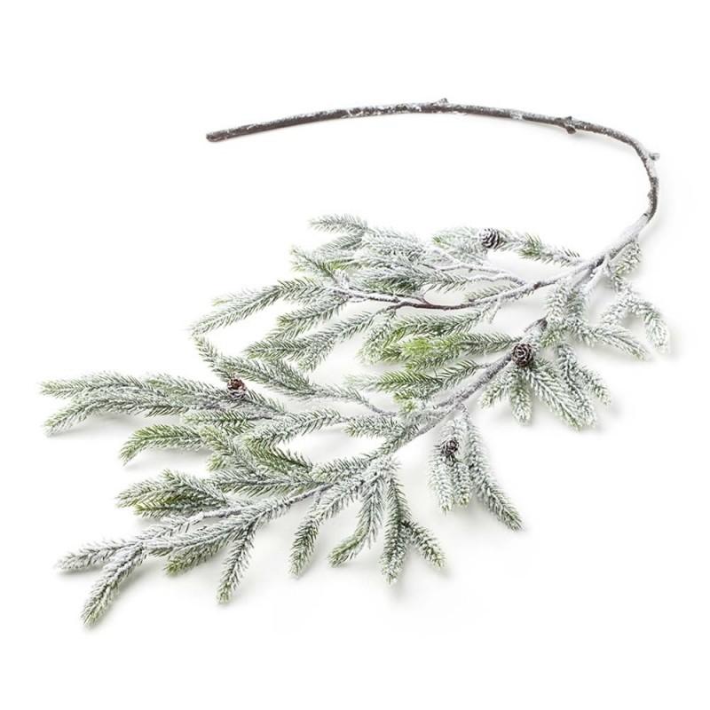 Hervit - Ramo di pino sintetico verde nevicato 140 cm
