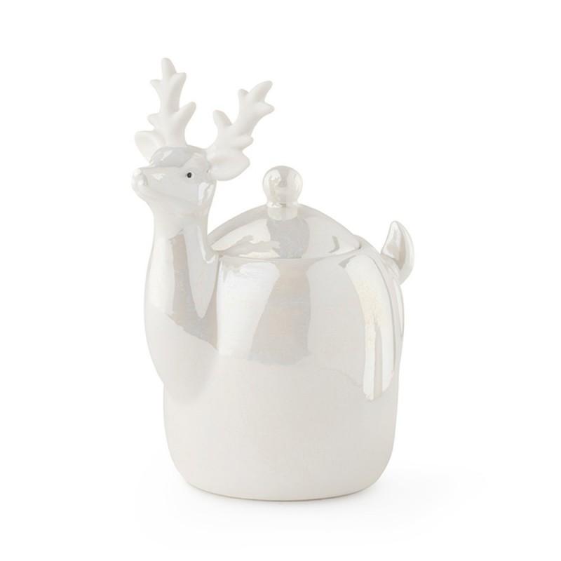 Hervit - Contenitore Renna con coperchio in porcellana 12 cm