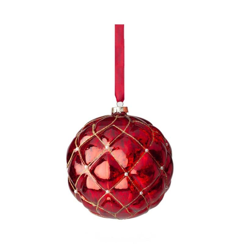 Hervit - Box 3 sfere chester rosse in vetro 8 cm