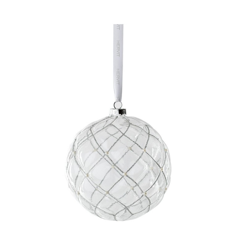 Hervit - Box 3 sfere chester in vetro trasparente 8 cm