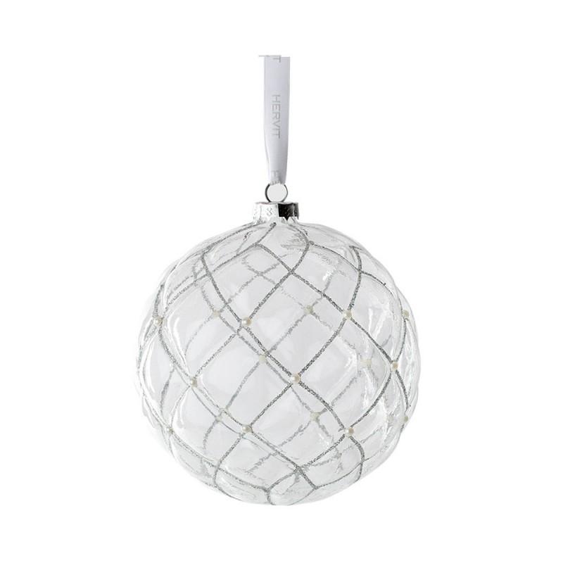 Hervit - Box 2 sfere vetro chester trasparente 10 cm
