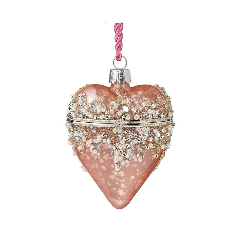 Hervit - Cuore vetro apribile rosa antico 9 cm