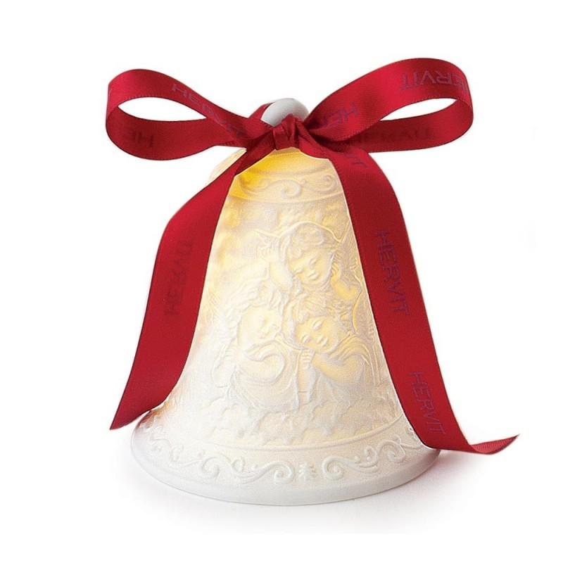 Hervit - Campana con angeli porcellana bianca bisquit 13 cm