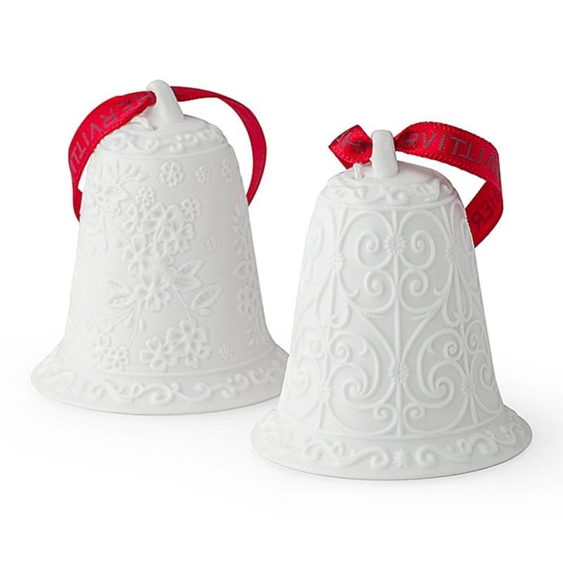 Hervit - Box 2 Campane porcellana bianca bisquit 6 cm