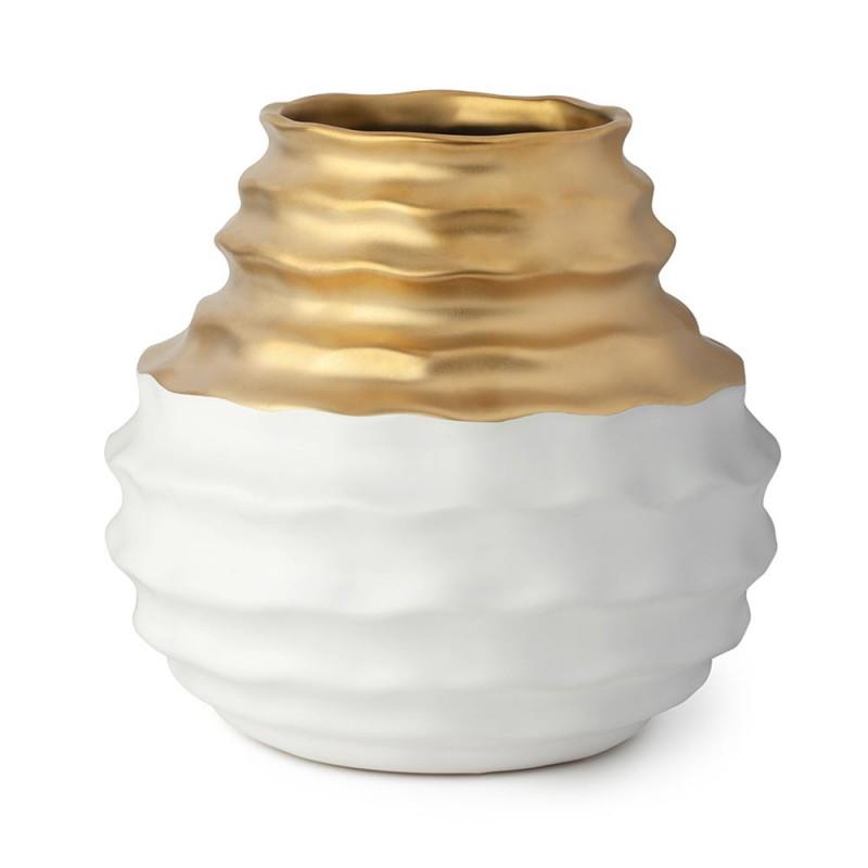 Vaso in gres bianco ed oro...