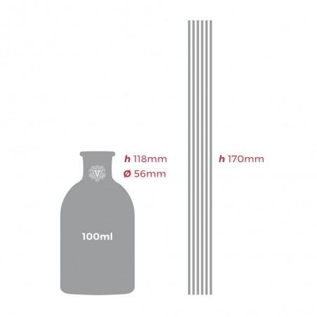Dr. Vranjes - Diffusore di fragranza ARANCIO UVA ROSSA 100ml - dimensioni