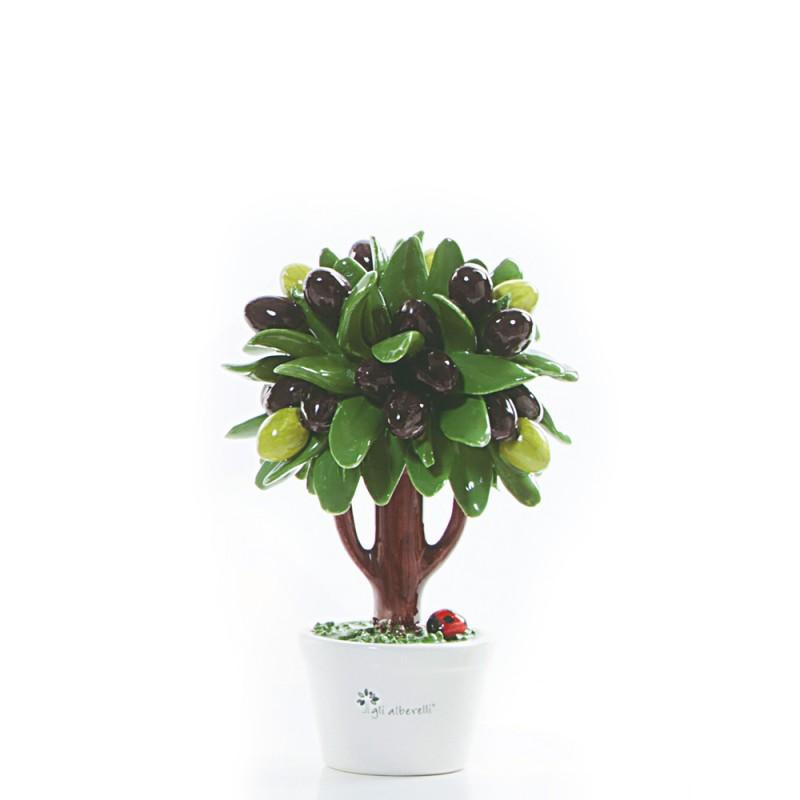 Candida Celiento - Gli Alberelli, albero porcellana - decoro OLIVO - Piccolo - foto-1