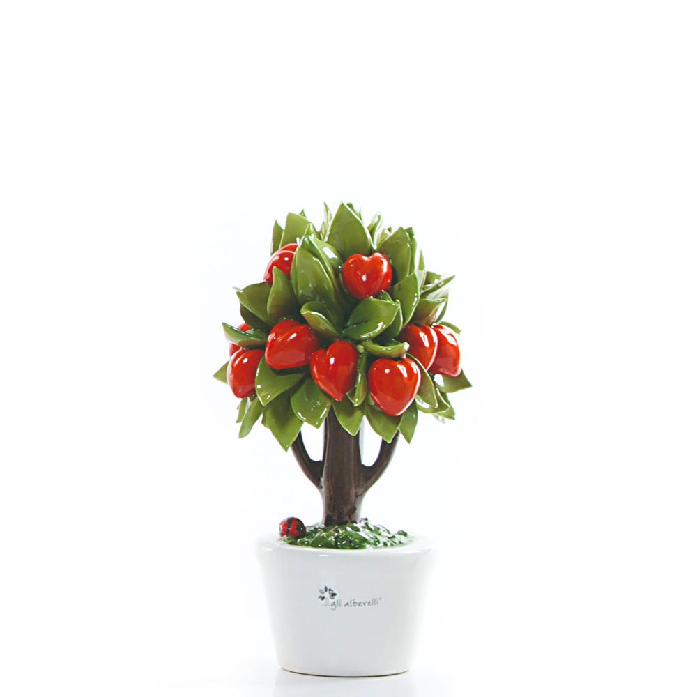 Candida Celiento - Gli Alberelli, albero porcellana - decoro CUORE - Piccolo - foto-1