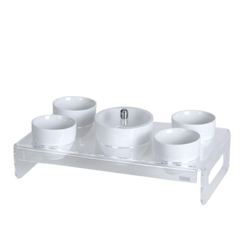 Vesta - set vassoio zuccheriera e quattro tazze like water-Candida Celiento