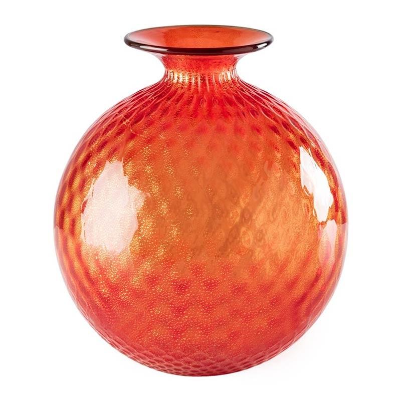 100.29 RV ORO TP-Venini vaso Monofiore Balloton rosso con foglia oro filo talpa Ø21.5cm Candida Celiento