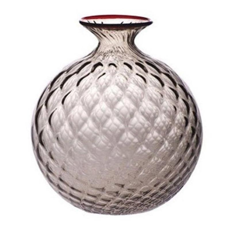 100.29 TP RV-Venini vaso Monofiore Balloton talpa filo rosso Ø21.5cm Candida Celiento