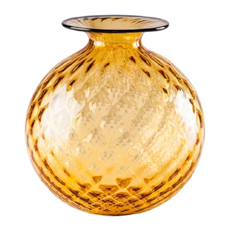 100.29 AA OZ-Venini vaso Monofiore Balloton ambra filo orizzonte Ø21.5cm Candida Celiento