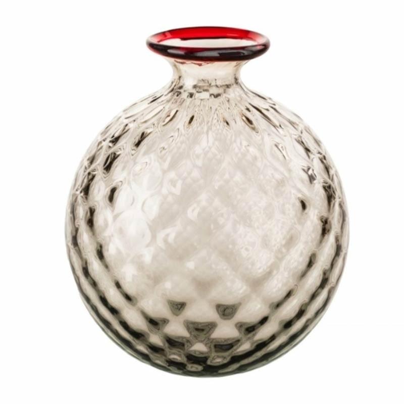 100.18 TP RV-Venini vaso Monofiore Balloton talpa filo rosso Ø18cm Candida Celiento