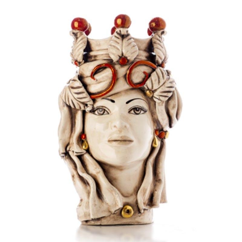 TEMDLUX/L35-Verus Ceramiche Testa di Moro donna Elegance con drappo bianco antico Candida Celiento